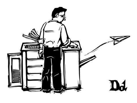'Copy machine shoots out a paper airplane', by Drew Dernavich of the New Yorker